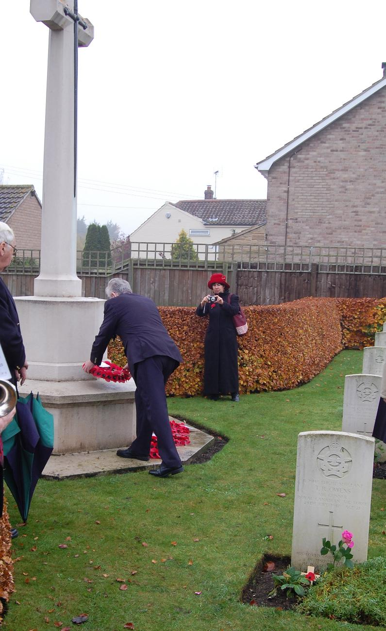 Mike Cummings laying a wreath  at  St. Catherines, Barmby Moor on Rem Sunday 2011 - 102 Ceylon Squadron