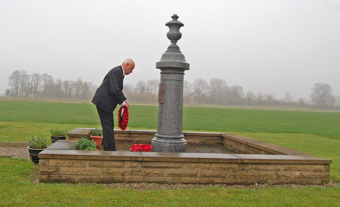 Flight Sergeant Thomas Sayer DFM laying a wreath at Wolds Gliding Club (Pocklington Airfield) on Rem Sunday 2011 - 102 Ceylon Squadron